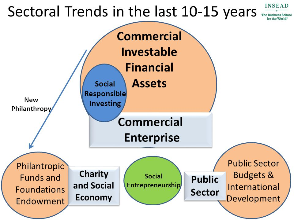 Sectoral Trends in the last 10-15 years Commercial Investable Financial Assets Philantropic Funds and Foundations Endowment Public Sector Budgets & International Development Charity and Social Economy Charity and Social Economy Public Sector Public Sector Commercial Enterprise Commercial Enterprise Social Responsible Investing Social Entrepreneurship New Philanthropy