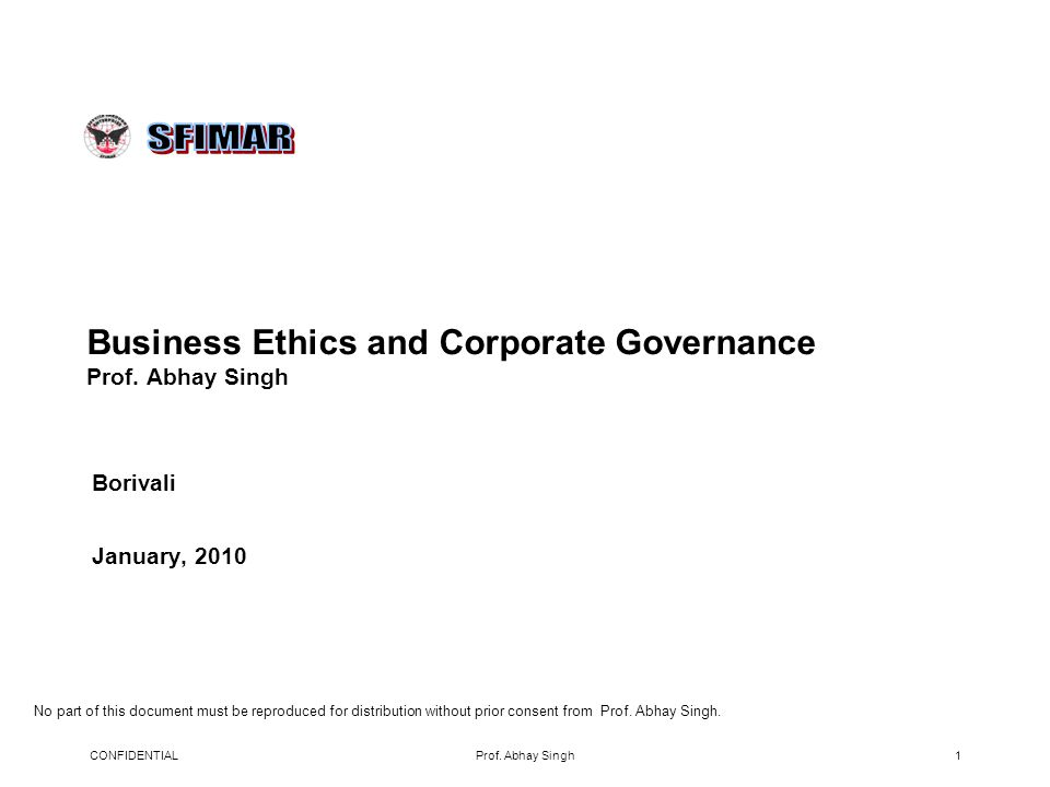 Business Ethics and Corporate Governance Prof.