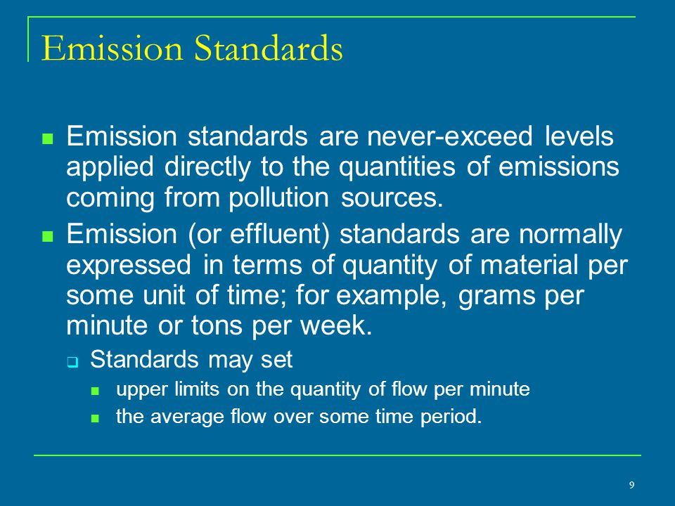 Standards and Incentives in the Long Run Technology Standards provide no incentive to find cheaper ways of reducing emissions.