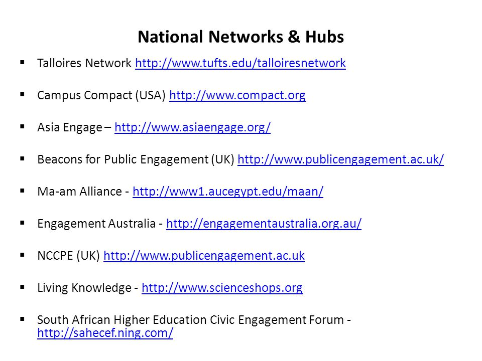 National Networks & Hubs  Talloires Network http://www.tufts.edu/talloiresnetworkhttp://www.tufts.edu/talloiresnetwork  Campus Compact (USA) http://