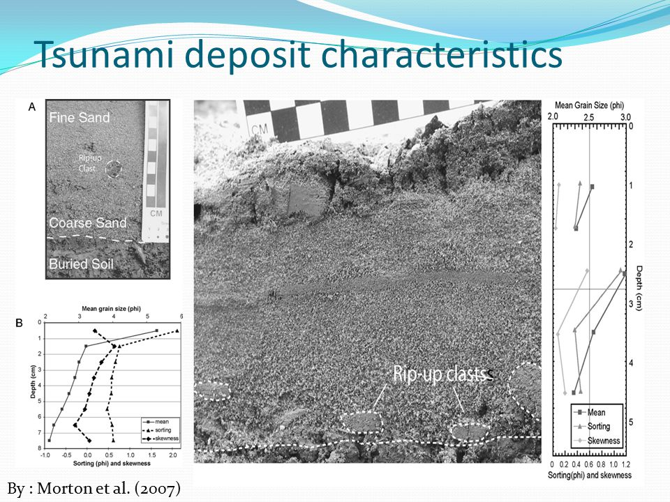 Tsunami deposit characteristics By : Morton et al. (2007)