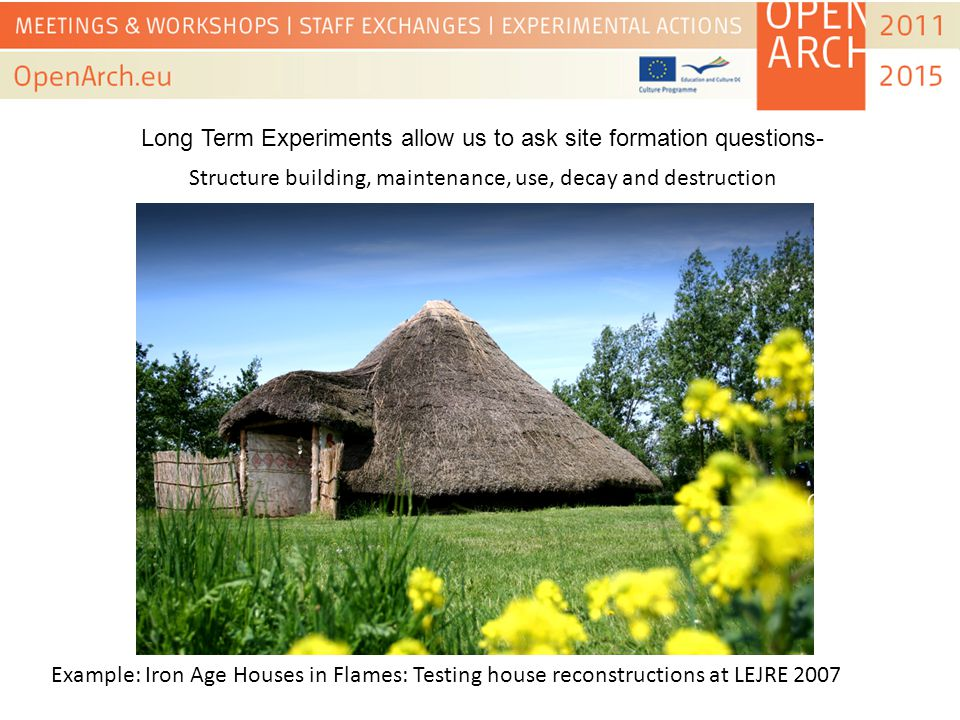 Structure building, maintenance, use, decay and destruction Example: Iron Age Houses in Flames: Testing house reconstructions at LEJRE 2007 Long Term Experiments allow us to ask site formation questions-