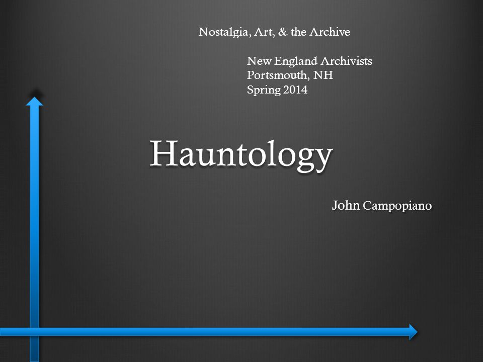 Hauntology: Examining an alternative heritage Reconsidering history & our sonic heritage Challenging temporality Nostalgia & childhood