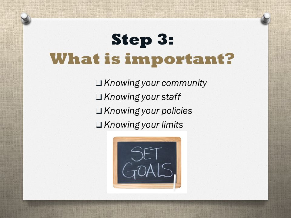 Step 3: What is important.