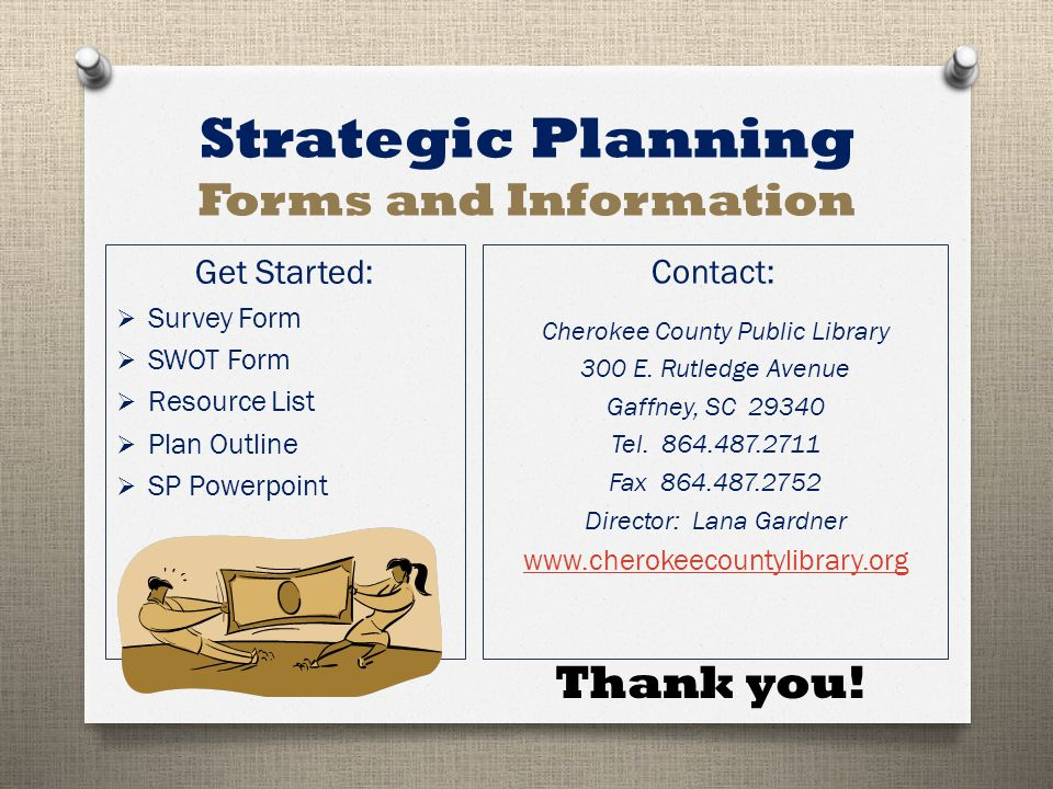 Strategic Planning Forms and Information Get Started:  Survey Form  SWOT Form  Resource List  Plan Outline  SP Powerpoint Contact: Cherokee County Public Library 300 E.