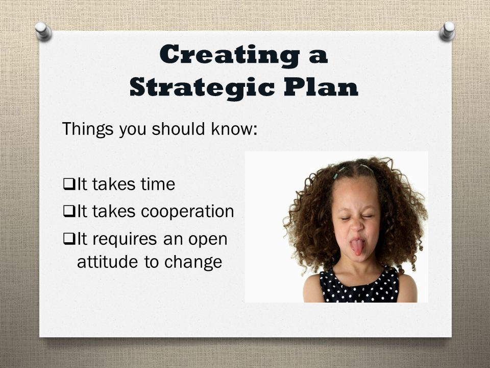 Creating a Strategic Plan Things you should know:  It takes time  It takes cooperation  It requires an open attitude to change