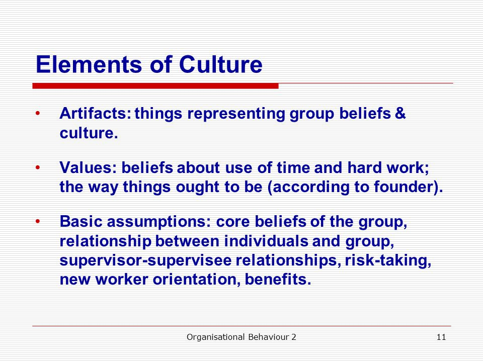 Elements of Culture Artifacts: things representing group beliefs & culture.
