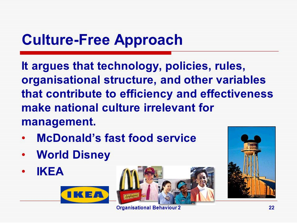 Culture-Free Approach It argues that technology, policies, rules, organisational structure, and other variables that contribute to efficiency and effectiveness make national culture irrelevant for management.