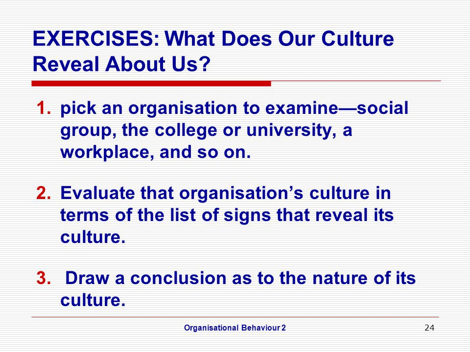 24 EXERCISES: What Does Our Culture Reveal About Us.