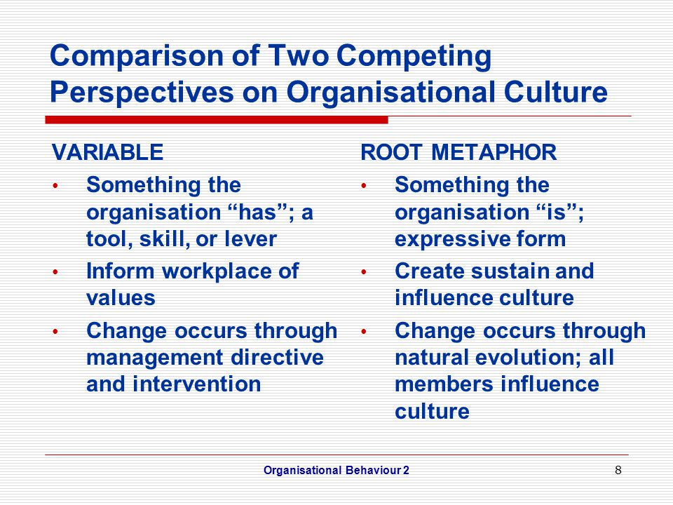8 Comparison of Two Competing Perspectives on Organisational Culture VARIABLE Something the organisation has ; a tool, skill, or lever Inform workplace of values Change occurs through management directive and intervention Organisational Behaviour 2 ROOT METAPHOR Something the organisation is ; expressive form Create sustain and influence culture Change occurs through natural evolution; all members influence culture