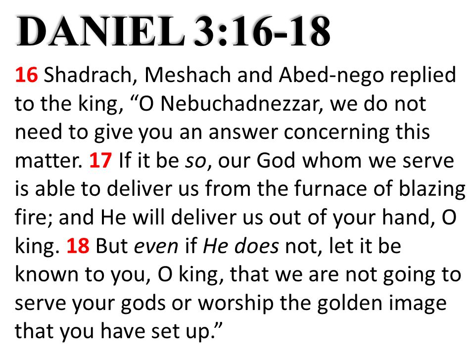 DANIEL 3:16-18 16 Shadrach, Meshach and Abed-nego replied to the king, O Nebuchadnezzar, we do not need to give you an answer concerning this matter.