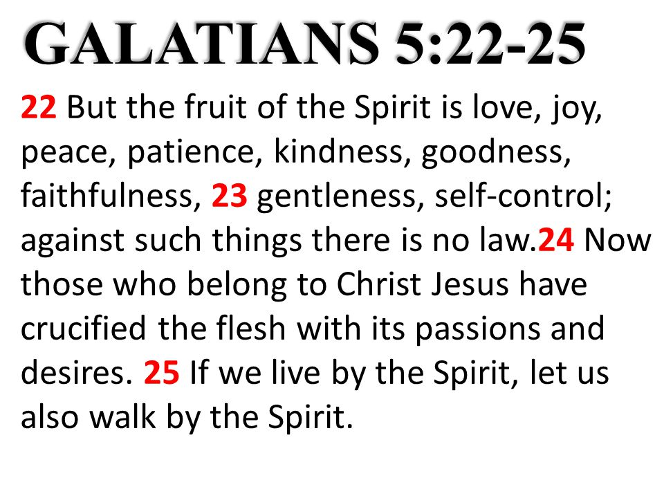 GALATIANS 5:22-25 22 But the fruit of the Spirit is love, joy, peace, patience, kindness, goodness, faithfulness, 23 gentleness, self-control; against such things there is no law.24 Now those who belong to Christ Jesus have crucified the flesh with its passions and desires.