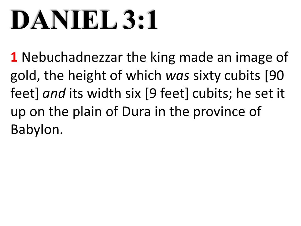 DANIEL 3:1 1 Nebuchadnezzar the king made an image of gold, the height of which was sixty cubits [90 feet] and its width six [9 feet] cubits; he set it up on the plain of Dura in the province of Babylon.