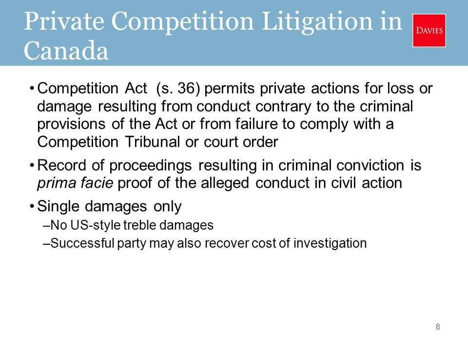 Private Competition Litigation in Canada Competition Act (s.