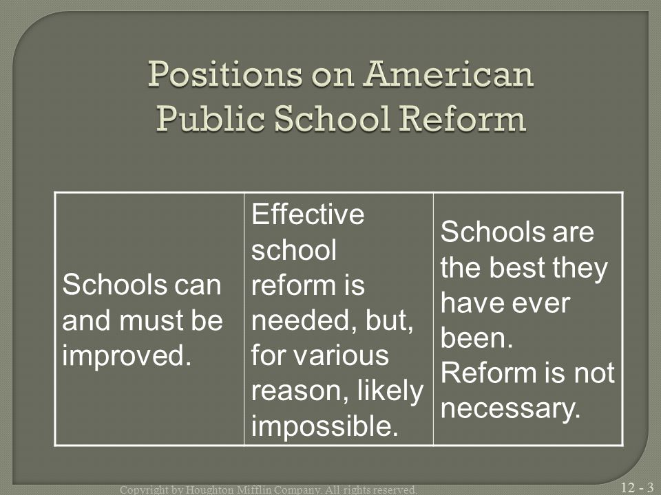 Schools can and must be improved.