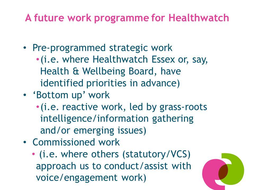 A future work programme for Healthwatch Pre-programmed strategic work (i.e.