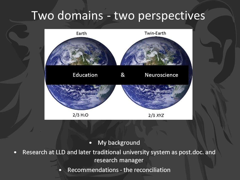 Two domains - two perspectives My background Research at LLD and later traditional university system as post.doc.