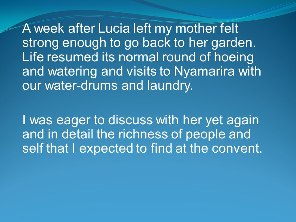 A week after Lucia left my mother felt strong enough to go back to her garden.