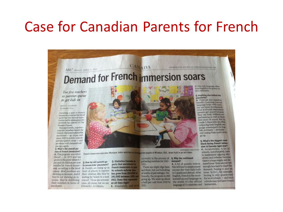 Case for Canadian Parents for French