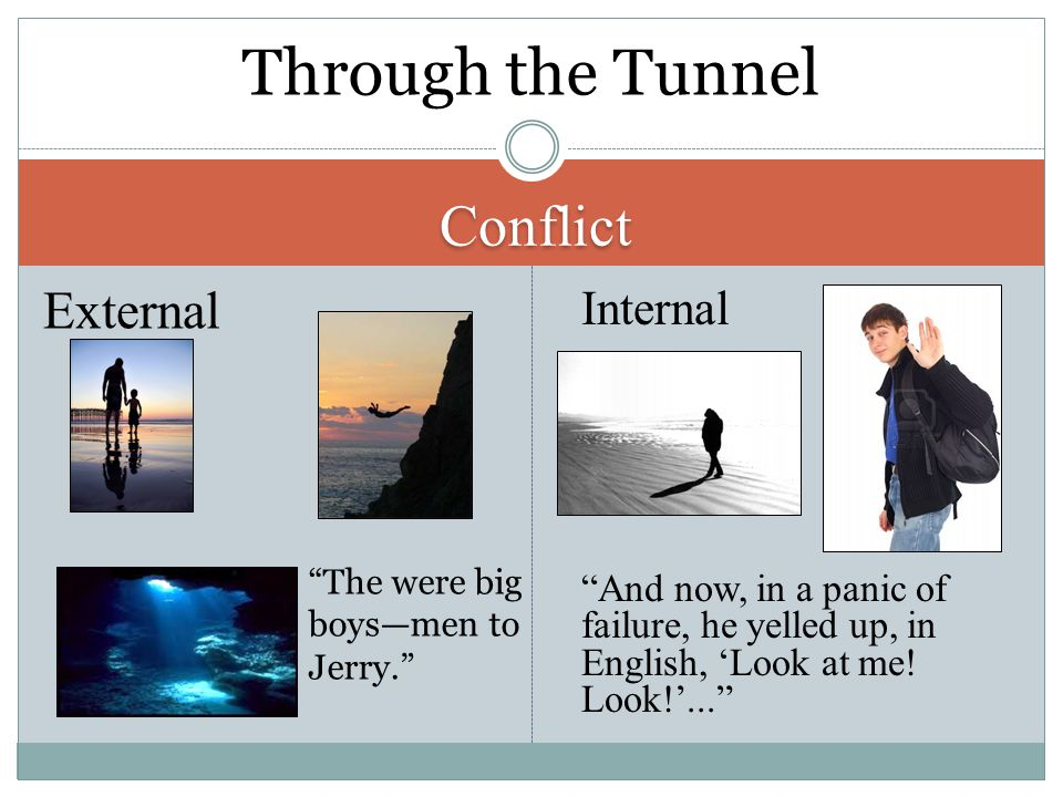 "Conflict External Internal ""And now, in a panic of failure, he yelled up, in English, 'Look at me! Look!'..."" Through the Tunnel ""The were big boys—me"
