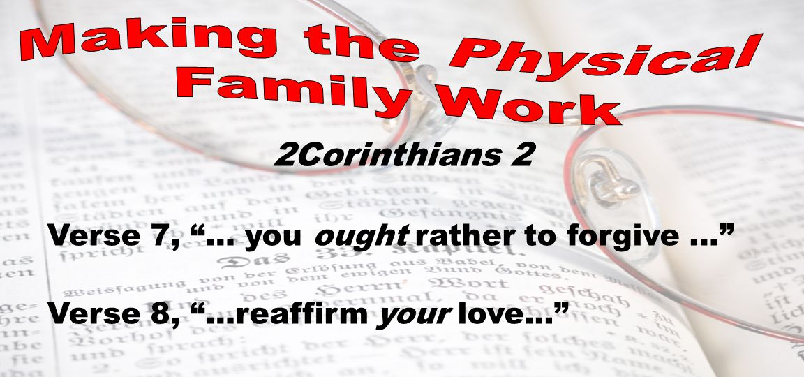 2Corinthians 2 Verse 7, … you ought rather to forgive … Verse 8, …reaffirm your love...