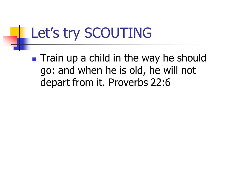 Let's try SCOUTING Train up a child in the way he should go: and when he is old, he will not depart from it. Proverbs 22:6