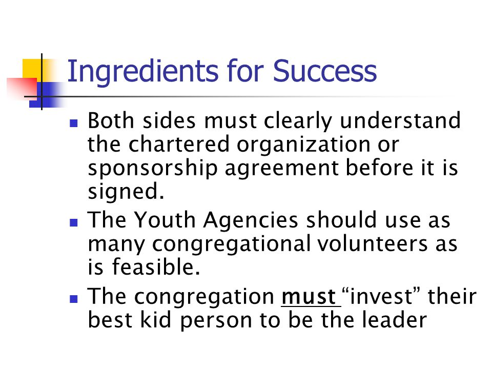 Ingredients for Success Both sides must clearly understand the chartered organization or sponsorship agreement before it is signed. The Youth Agencies