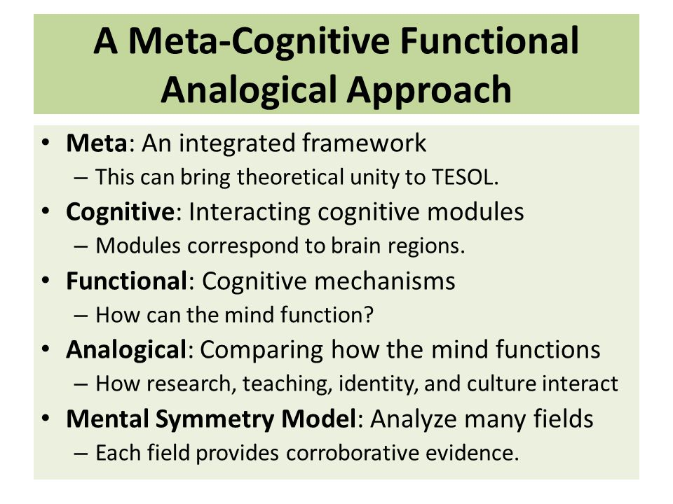 A Meta-Cognitive Functional Analogical Approach Meta: An integrated framework – This can bring theoretical unity to TESOL.