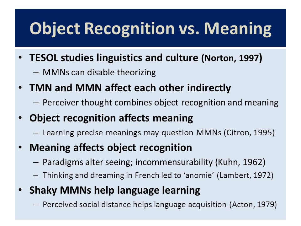 Object Recognition vs.