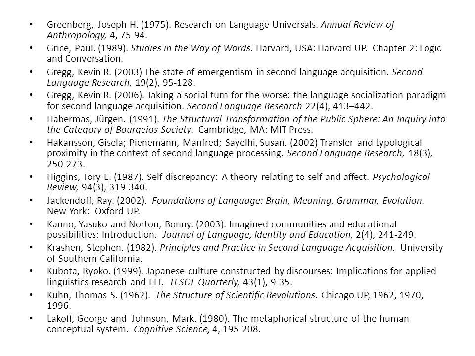 Greenberg, Joseph H. (1975). Research on Language Universals.