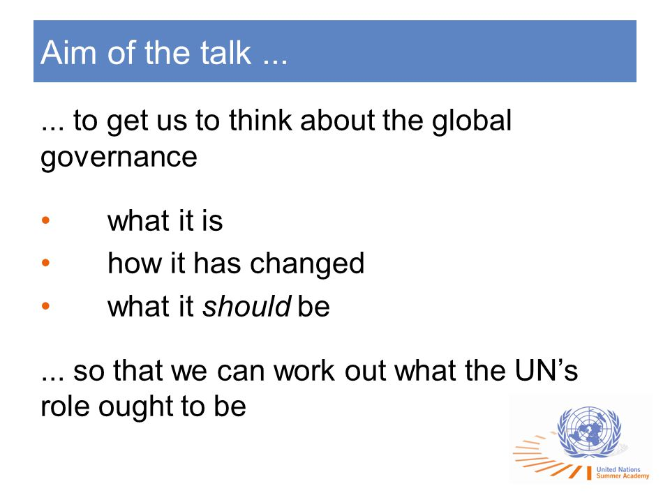 Aim of the talk......