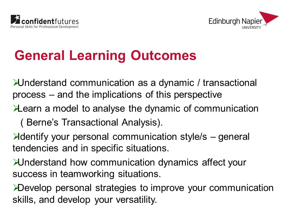  Understand communication as a dynamic / transactional process – and the implications of this perspective  Learn a model to analyse the dynamic of communication ( Berne's Transactional Analysis).