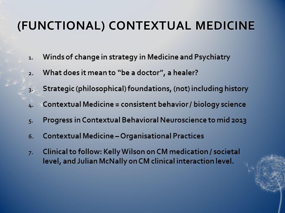 (FUNCTIONAL) CONTEXTUAL MEDICINE(FUNCTIONAL) CONTEXTUAL MEDICINE 1.