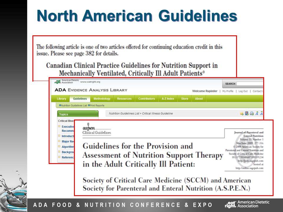 North American Guidelines www.criticalcarenutrition.com