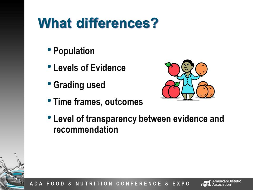 Population Levels of Evidence Grading used Time frames, outcomes Level of transparency between evidence and recommendation What differences?
