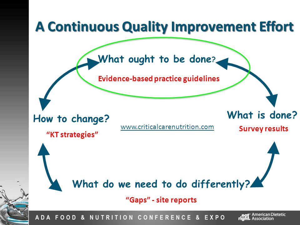 """A Continuous Quality Improvement Effort What is done? What ought to be done ? What do we need to do differently? """"Gaps"""" - site reports How to change?"""