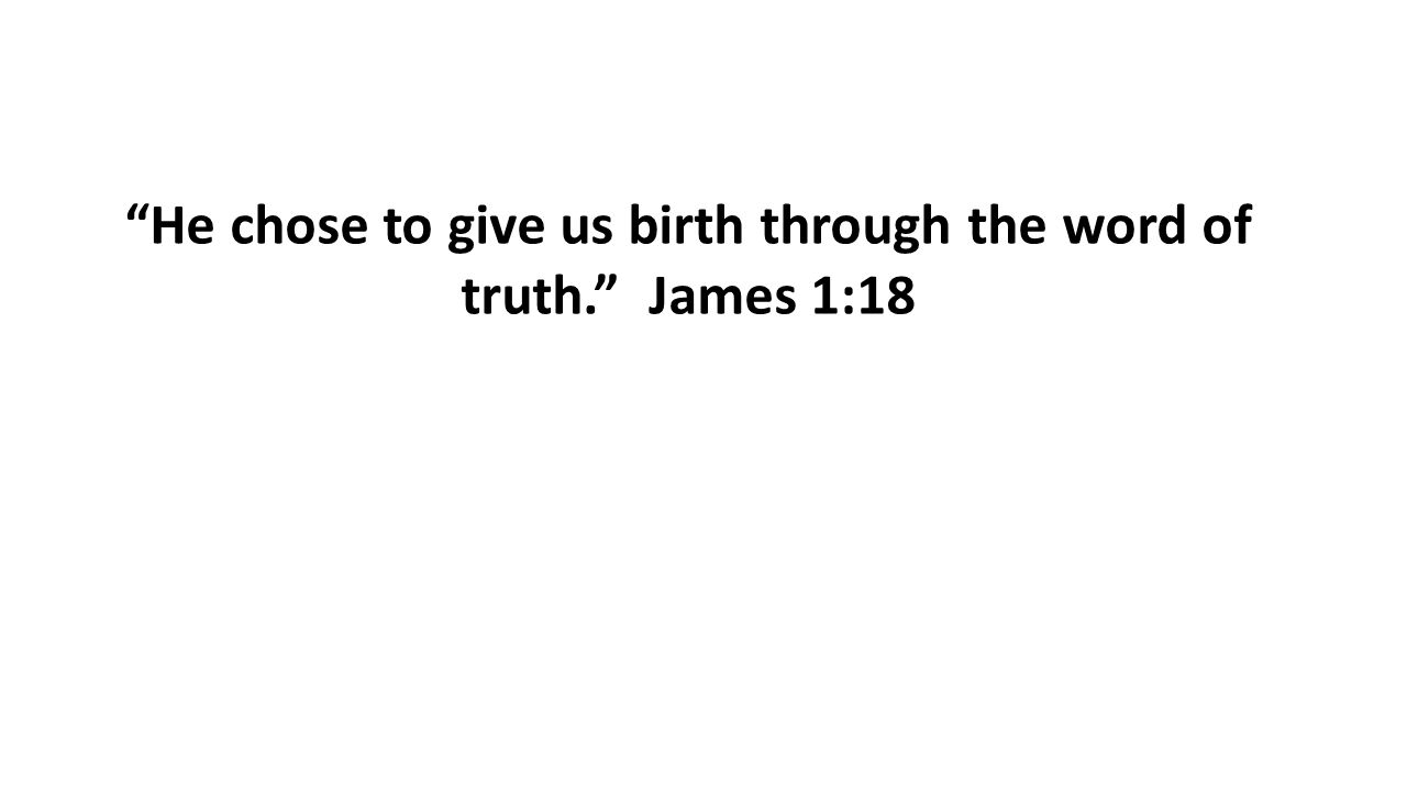 """He chose to give us birth through the word of truth."" James 1:18"