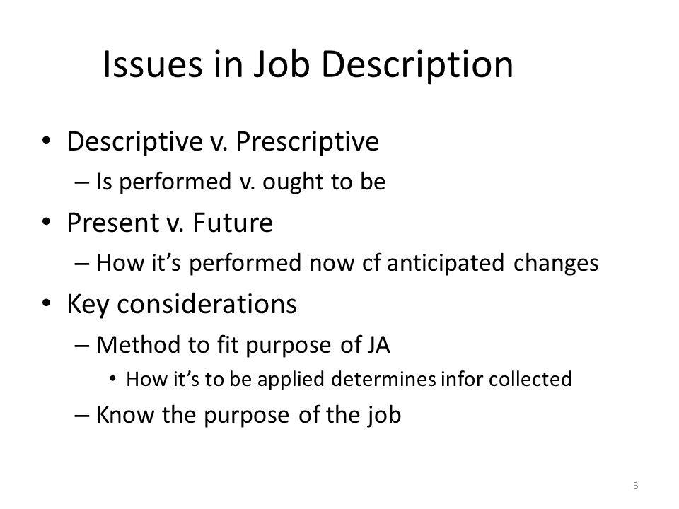 Issues in Job Description Descriptive v.Prescriptive – Is performed v.
