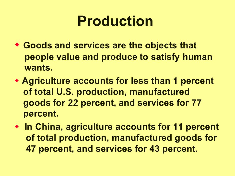 Production  Goods and services are the objects that people value and produce to satisfy human wants.