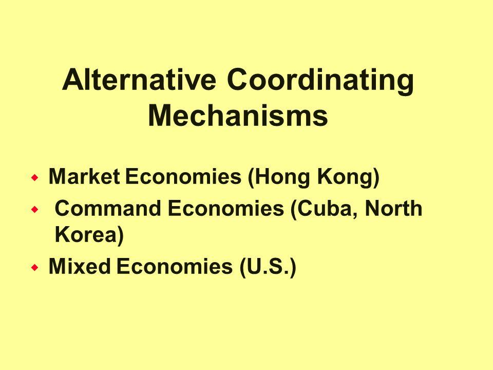 Alternative Coordinating Mechanisms  Market Economies (Hong Kong)  Command Economies (Cuba, North Korea)  Mixed Economies (U.S.)