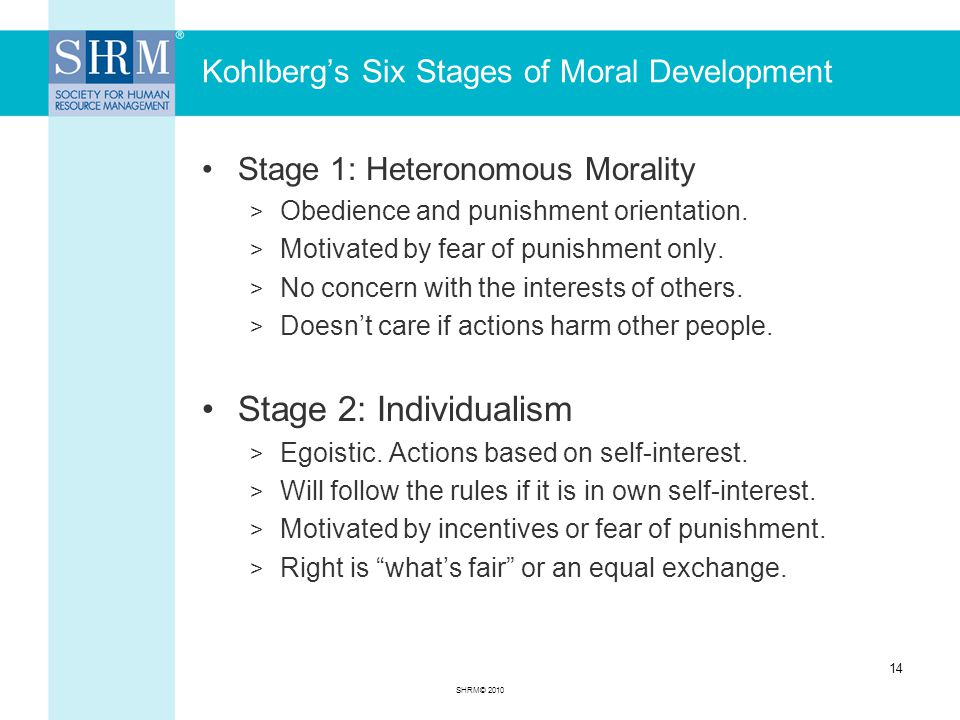 Kohlberg's Six Stages of Moral Development Stage 1: Heteronomous Morality > Obedience and punishment orientation.