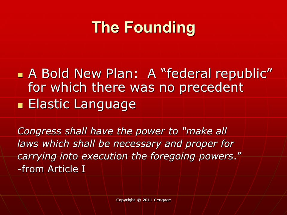 """Copyright © 2011 Cengage The Founding A Bold New Plan: A """"federal republic"""" for which there was no precedent A Bold New Plan: A """"federal republic"""" for"""