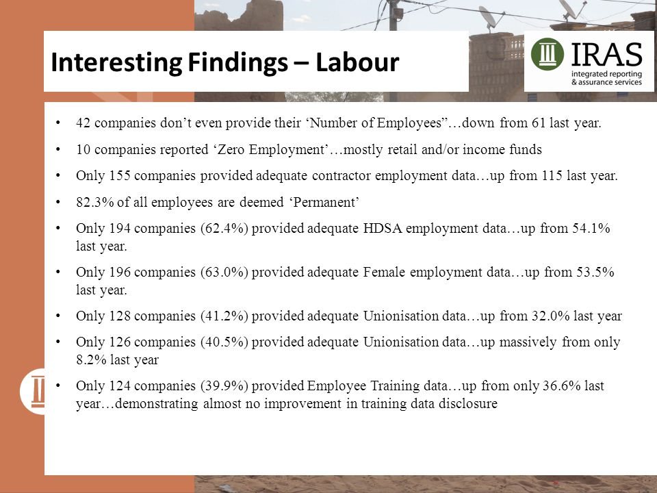 """Interesting Findings – Labour 42 companies don't even provide their 'Number of Employees""""…down from 61 last year. 10 companies reported 'Zero Employme"""