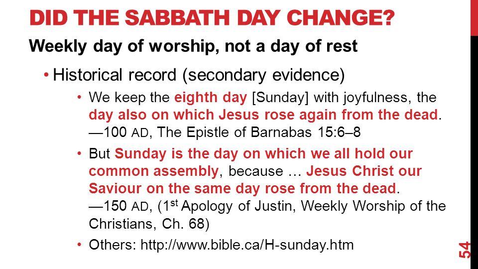 DID THE SABBATH DAY CHANGE.