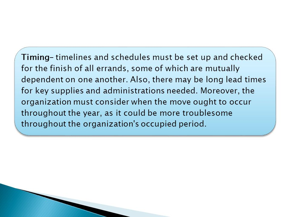 Timing- timelines and schedules must be set up and checked for the finish of all errands, some of which are mutually dependent on one another.