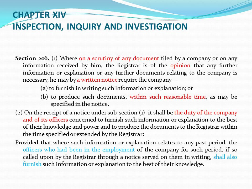 CHAPTER XIV INSPECTION, INQUIRY AND INVESTIGATION Section 206.