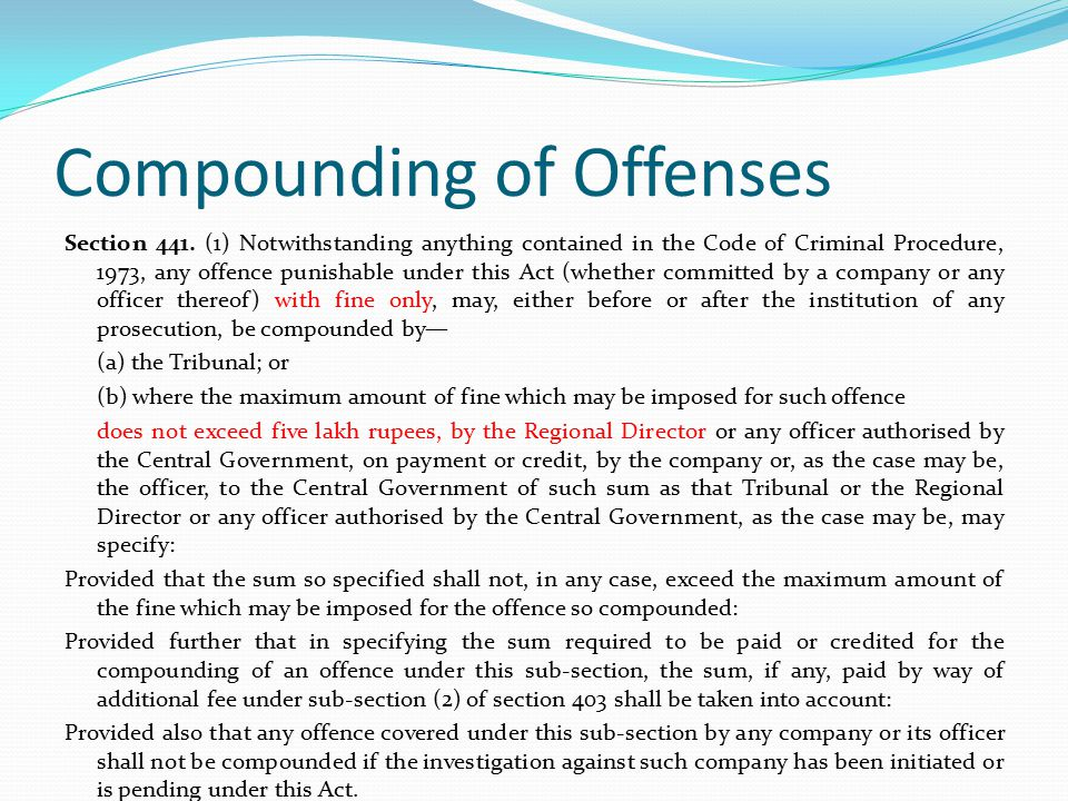 Compounding of Offenses Section 441.