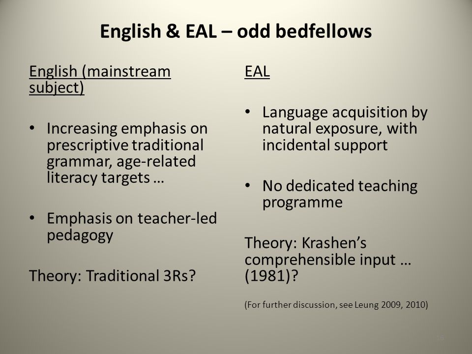 English & EAL – odd bedfellows English (mainstream subject) Increasing emphasis on prescriptive traditional grammar, age-related literacy targets … Emphasis on teacher-led pedagogy Theory: Traditional 3Rs.