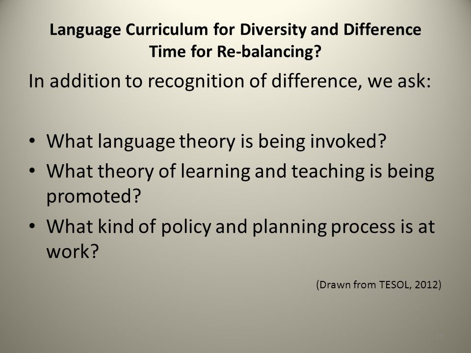 Language Curriculum for Diversity and Difference Time for Re-balancing.