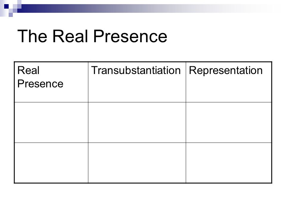 The Real Presence Real Presence TransubstantiationRepresentation